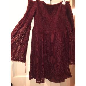NWT maroon lace bell-sleeve off the shoulder dress